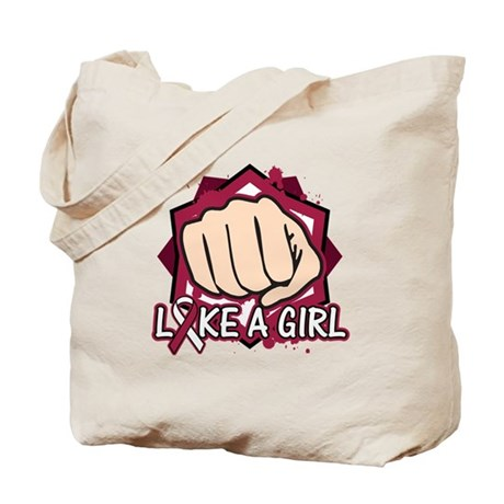 Throat Cancer Punch Fight Like A Girl Tote Bag