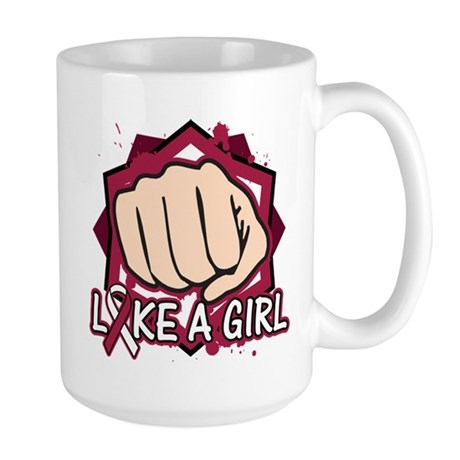 Throat Cancer Punch Fight Like A Girl Large Mug