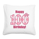 Happy 100th Birthday - Pink Argyle Square Canvas P