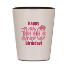 Happy 100th Birthday - Pink Argyle Shot Glass