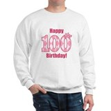 Happy 100th Birthday - Pink Argyle Sweatshirt