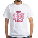 Happy 100th Birthday - Pink Argyle T-Shirt