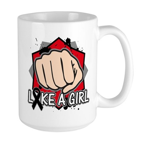 Skin Cancer Punch Fight Like A Girl Large Mug