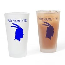 Custom Blue Native American Outline Drinking Glass