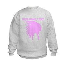 Custom Pink Indian Headdress Outline Sweatshirt