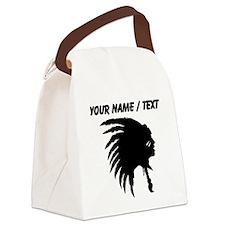 Custom Indian Headdress Outline Canvas Lunch Bag
