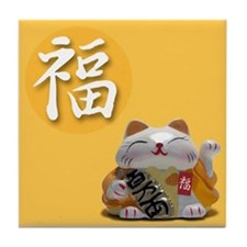 Japanese Fortune Cats Tile Coaster - Prosperity