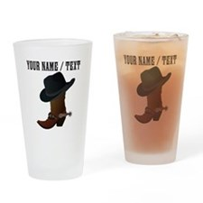 Custom Cowboy Boot And Hat Drinking Glass