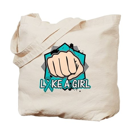Peritoneal Cancer Punch Fight Like A Girl Tote Bag