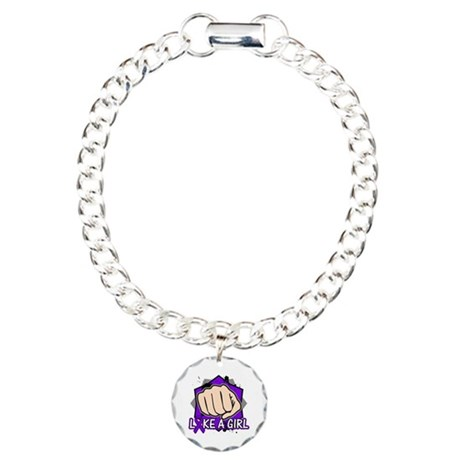 Pancreatic Cancer Punch Fight Charm Bracelet, One