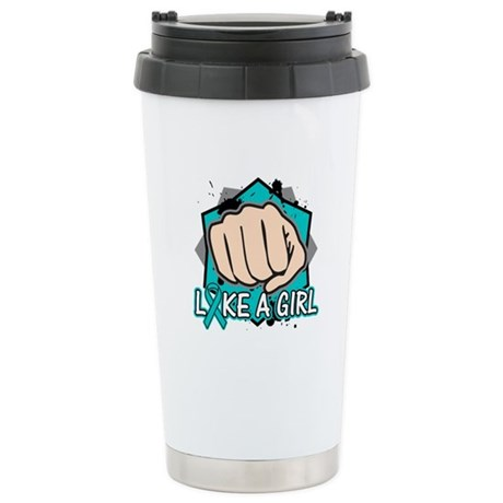Ovarian Cancer Punch Fight Ceramic Travel Mug