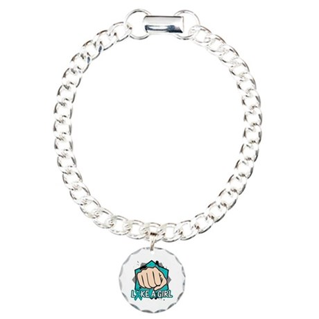 Ovarian Cancer Punch Fight Charm Bracelet, One Cha