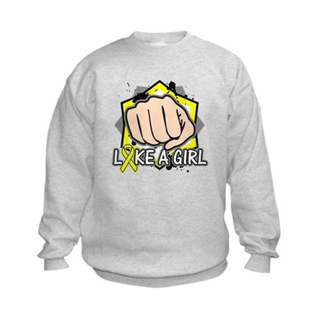 Osteosarcoma Cancer Punch Fight Kids Sweatshirt