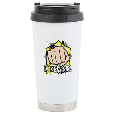 Osteosarcoma Cancer Punch Fight Ceramic Travel Mug