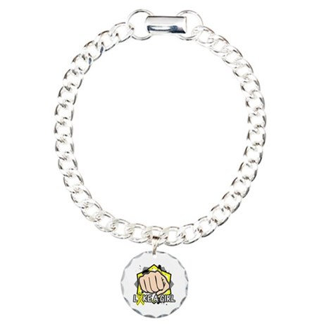 Osteosarcoma Cancer Punch Fight Charm Bracelet, On