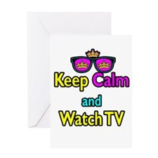 Crown Sunglasses Keep Calm And Watch TV Greeting C