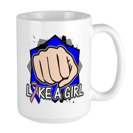 Male Breast Cancer Punch Fight Large Mug