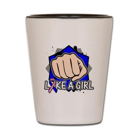 Male Breast Cancer Punch Fight Shot Glass