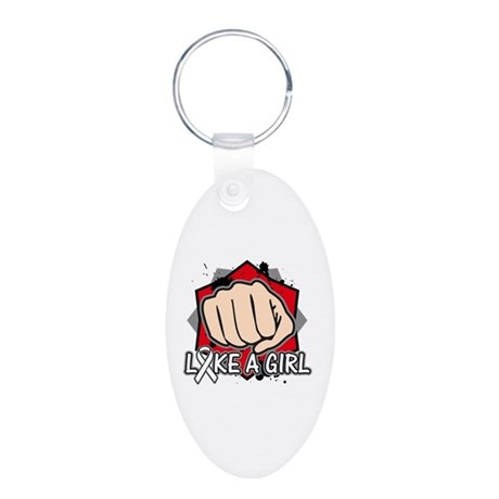Lung Cancer Punch Fight Aluminum Oval Keychain