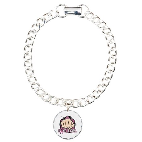 Breast Cancer Punch Fight Charm Bracelet, One Char