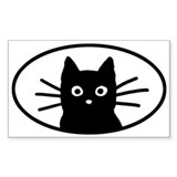 Black Cat Face Oval  Aufkleber