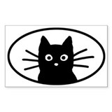 Black Cat Face Oval Bumper Stickers