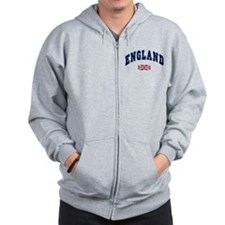 England text Arched with Union Jack Flag Zip Hoodie