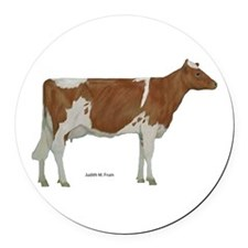 Guernsey Milk Cow Round Car Magnet