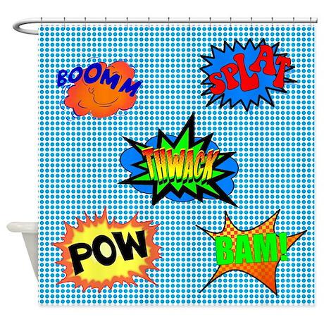 Bam gifts gt bam bathroom d 233 cor gt pow superhero shower curtain