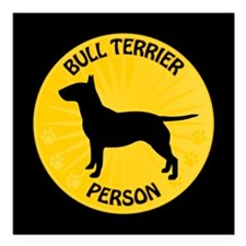 "Bull Terrier Person Square Car Magnet 3"" x 3"""