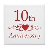10th Wedding Anniversary Tile Coaster