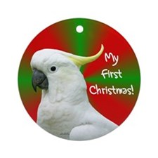 Cockatoo Parrot's First Christmas Ornament
