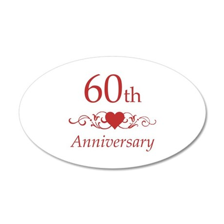 60th Wedding Anniversary 35x21 Oval Wall Decal