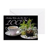 100th Birthday Greeting Card With Tea (Pk of 20)