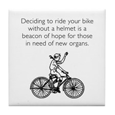 Helmetless Hope White Tile Coaster