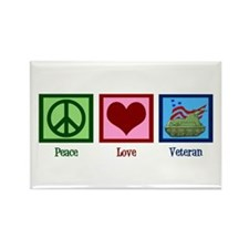 Peace Love Veteran Rectangle Magnet