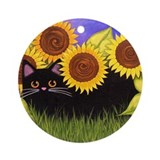 Black CAT/Sunflowers Collectable Ornament (Round)