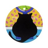 Fat Black CAT on Scale Collectable Ornament
