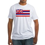 Hawaii Hawaiian Blank Flag Fitted T-Shirt