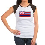 Hawaii Hawaiian Blank Flag Women's Cap Sleeve T-Sh