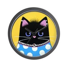 FAT Black DIVA Cat Wall Clock