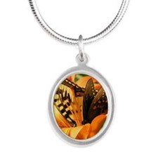 Tiger Lily Butterfiles Silver Oval Necklace