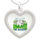 Unique Piglet Silver Heart Necklace