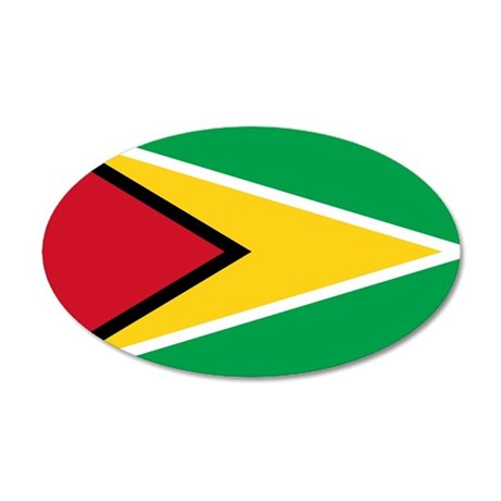 Flag of Guyana 35x21 Oval Wall Decal