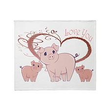 Love You, Cute Piggies Art Throw Blanket