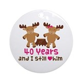 40th Anniversary Moose Ornament (Round)