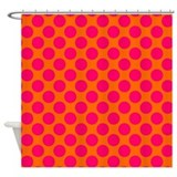 Orange and Pink Polka Dots Shower Curtain