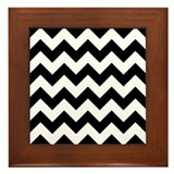 Black and White Zigzag Framed Tile