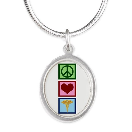 Peace Love Medicine Silver Oval Necklace