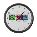 Peace Love Banking Large Wall Clock